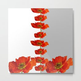 Red poppies strung out white & grey graphic Metal Print