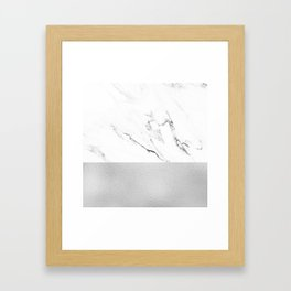 White Marble with Black and Grey Silver Stripe Framed Art Print