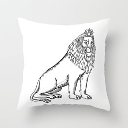 Etching style illustration of a blue male lion with red mane wearing a tiara or crown sitting down d Throw Pillow