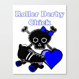 Roller Derby Chick (Blue) Canvas Print