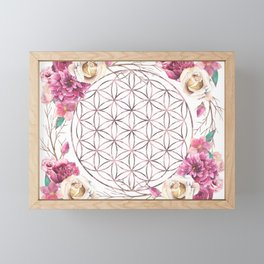 Flower of Life Rose Gold Garden Framed Mini Art Print