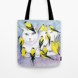 Cat Covered in Goldfinches Tote Bag