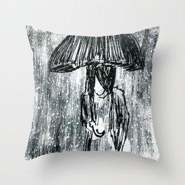 Umbrella Sketch Throw Pillow