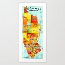 Manhattan Coffee Map Art Print