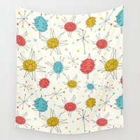 mid century modern Wall Tapestries featuring Mid-Century Holiday Season by There is no spoon