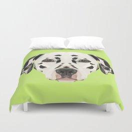 Dalmatian // Green Duvet Cover
