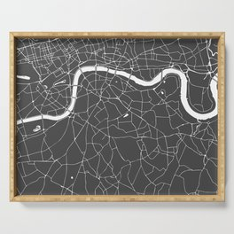 Gray on White London Street Map Serving Tray