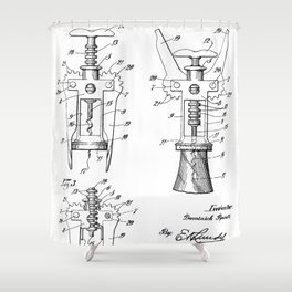 Cork Screw Patent - Wine Art - Black And White Shower Curtain