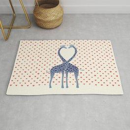Giraffes in Love - a Valentine's Day illustration Rug