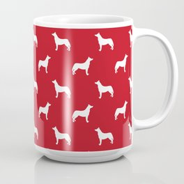 Husky dog pattern simple minimal basic dog silhouette huskies dog breed red and white Coffee Mug