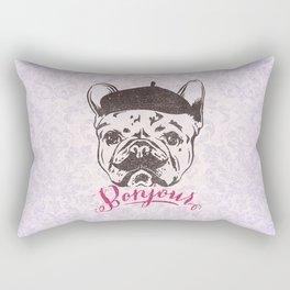 Funny Mustache French Bulldog Sketch Typography Rectangular Pillow