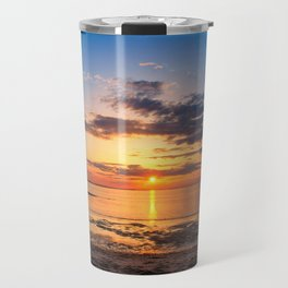 Sunset at Breakwater Lighthouse on the Beach of the Bay Travel Mug