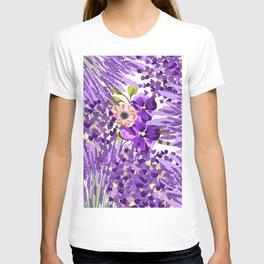 Lilac violet lavender lime green floral illustration T-shirt