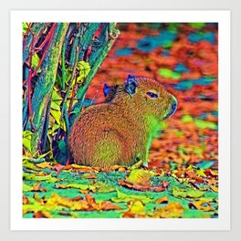 AnimalColor_Capybara_001_by_JAMColors Art Print
