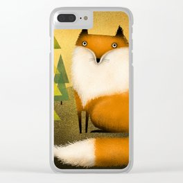 FOX IN WOODS Clear iPhone Case