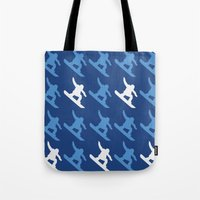 snowboard Tote Bags featuring snowboard boy by AmyFrancesDesigns