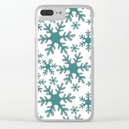 Blue Snowflake Pattern Clear iPhone Case