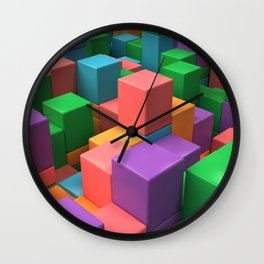 Wall of colorful cubes Wall Clock