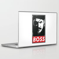 metal gear solid Laptop & iPad Skins featuring Big Boss - Metal Gear Solid by TxzDesign