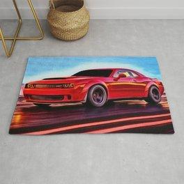 MOPAR Challenger Hellcat Demon Torred Painting by Jeanpaul Ferro Rug