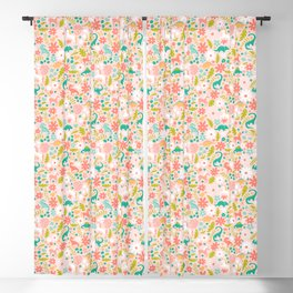 Dinosaurs + Unicorns in Pink + Teal Blackout Curtain