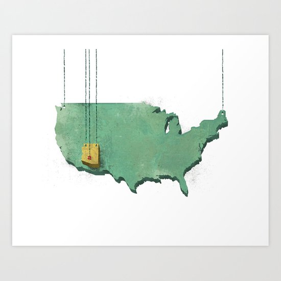Suspended Geography Art Print