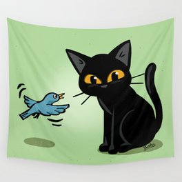 Talking with a bird Wall Tapestry