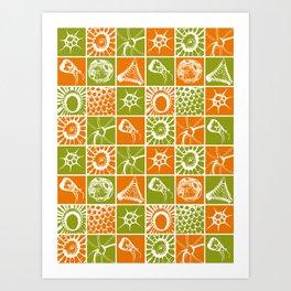 Microscopic Life Sillouetts Orange and Green Art Print