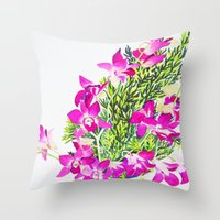 singapore Throw Pillows featuring Singapore Orchids by marlene holdsworth