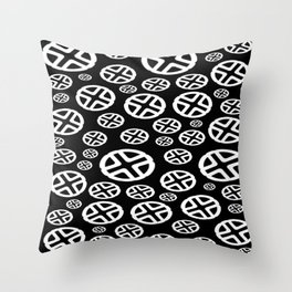 Scattered Circles - Black and White Pattern of Circles and Crosses Throw Pillow