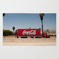 coke Area & Throw Rugs featuring Coke Truck by Alex