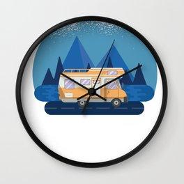 Happy Camper -  RV Camper Camping Moon Wall Clock