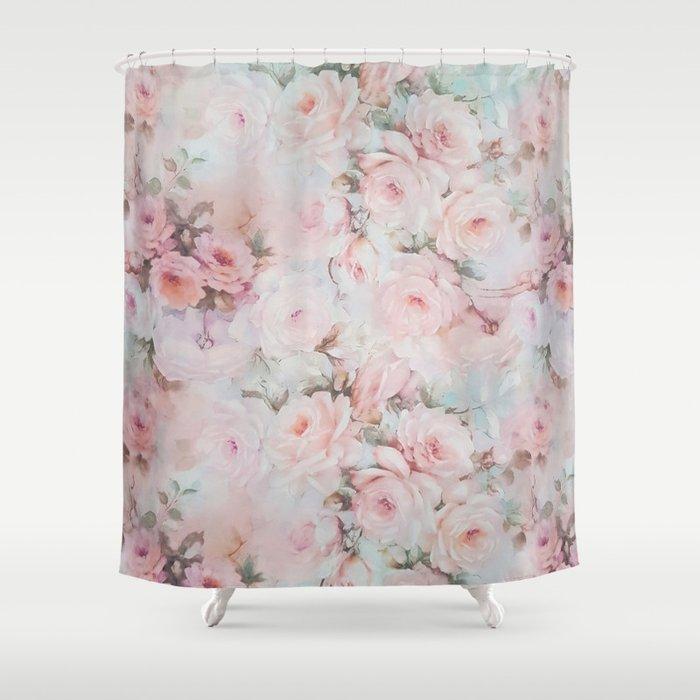 Vintage romantic blush pink teal bohemian roses floral shower vintage romantic blush pink teal bohemian roses floral shower curtain mightylinksfo