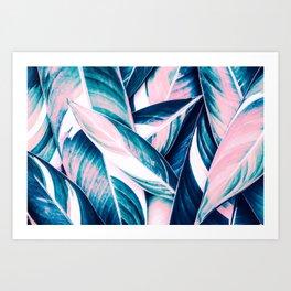 Botanical leaf pink and blue Art Print
