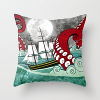 kraken Throw Pillows featuring Kraken by Beth Naeyaert