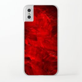 Red Abstract Paint Clear iPhone Case