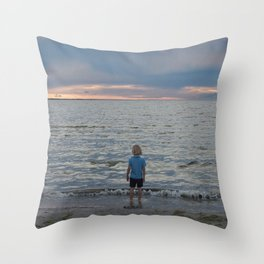 Boy and the Silver Sea Throw Pillow