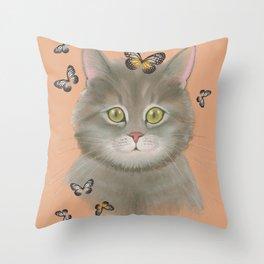 Cat & butterflies Throw Pillow