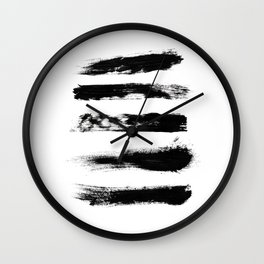 Abstract Black Brushstrokes Wall Clock
