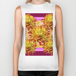 Stylized Abstracted Burgundy Yellow Chrysanthemums Floral Biker Tank