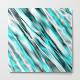 A bright cluster of light blue bodies on a light background. Metal Print