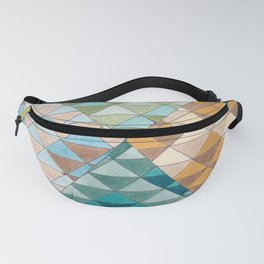 Triangle Patter No.15 Shifting Teal and Yellow Fanny Pack