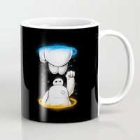 aperture Mugs featuring Fistbumps Forever by Jango Snow