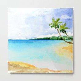 Watercolor Tropical Shoreline Metal Print