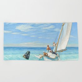 Edward Hopper Ground Swell 1939 Painting Beach Towel