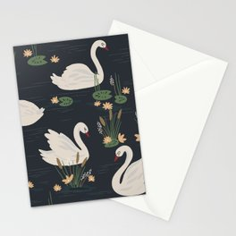 Swan Pond Dark Water Lily Pad Lotus Flowers Stationery Cards