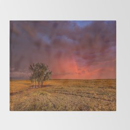 Fire Within - Red Sky and Rainbow Over Lone Tree on Great Plains Throw Blanket