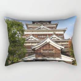 Hiroshima castle, also known as Carp Castle, in Japan Rectangular Pillow
