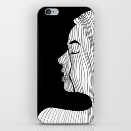Woman drawing with lines iPhone Skin