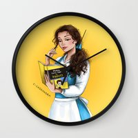 belle Wall Clocks featuring Belle by C. Cassandra